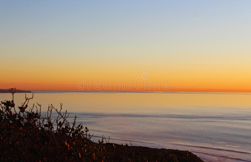 日落,海洋,圣地亚哥, Torrey Pine国家公园 库存图片