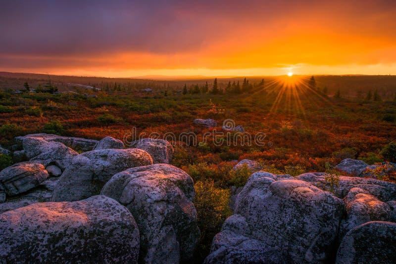 日落,移动式摄影车草皮,西维吉尼亚 免版税图库摄影