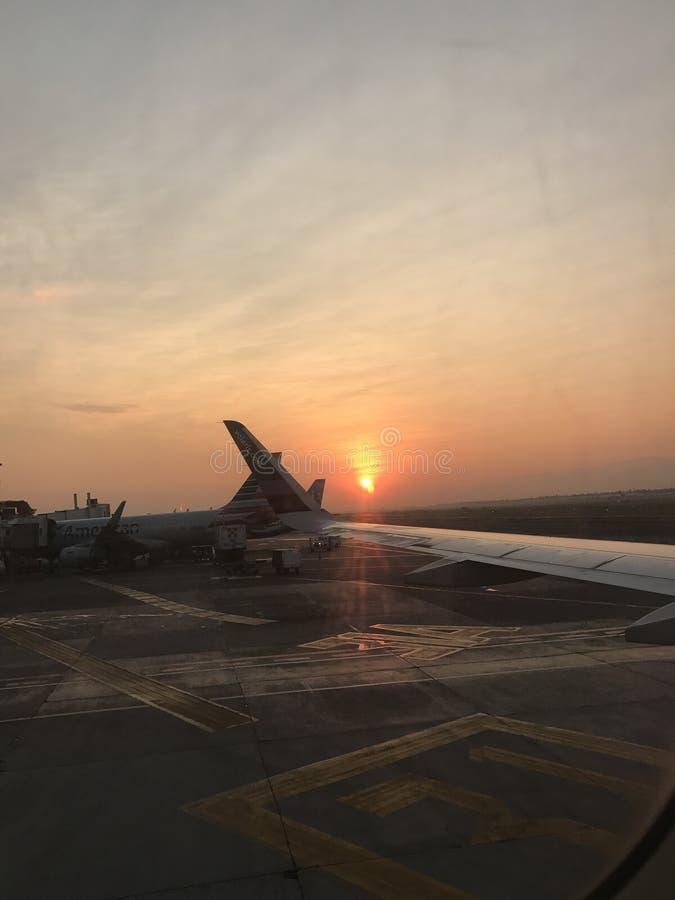 日落, México市机场 图库摄影