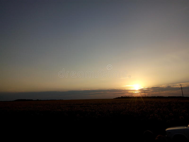 日落黑自然风景天空 免版税库存照片