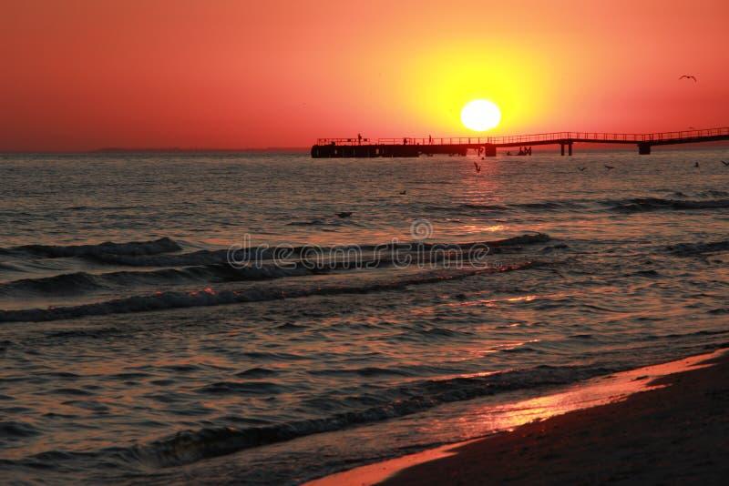 日落 黑海 Kinburn唾液 美丽的天空 免版税库存照片