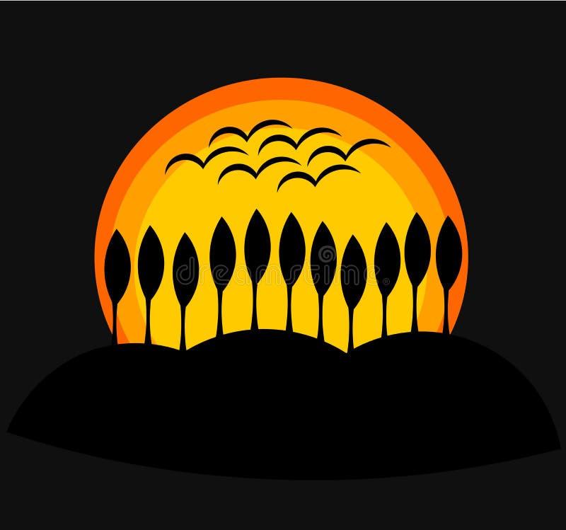 日落 向量例证