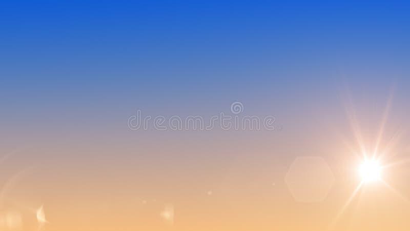 ??3D?? 太阳发光红色在与透镜火光的平衡的天空 向量例证