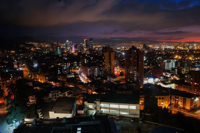日落Bogotà ¡,哥伦比亚地平线视图  免版税库存图片