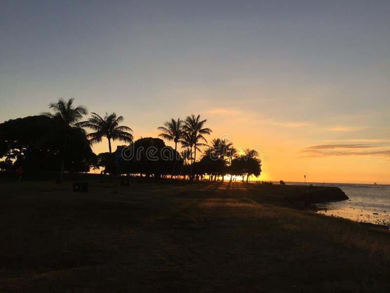 日落Hawai& x27; 我丙氨酸moana海滩公园草瑜伽放松和平安静夏威夷 免版税库存照片