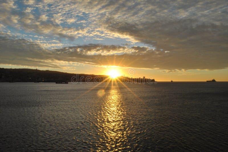 日落Viña Del Mar 免版税库存照片