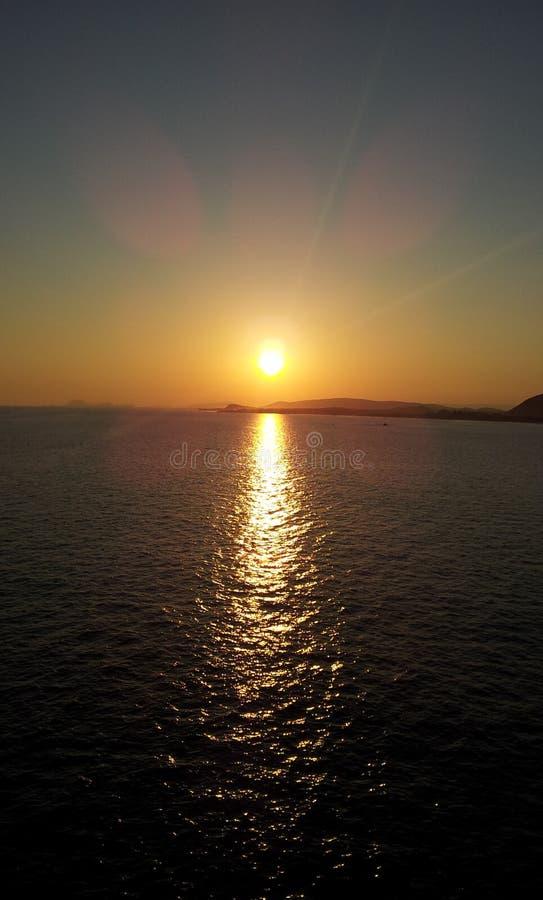 日落vizag印度美好的vishakhapatnam 库存照片