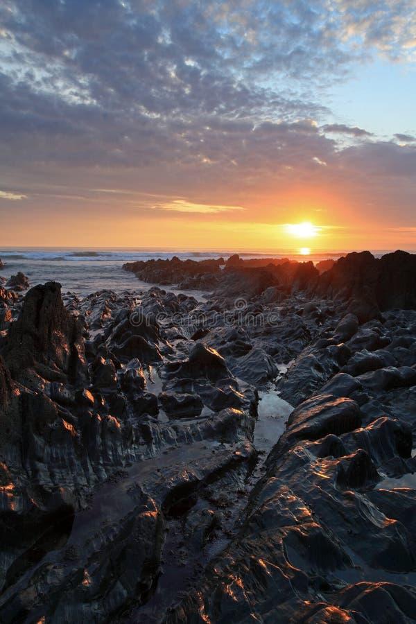 日落Woolacombe北部德文郡海岸 图库摄影