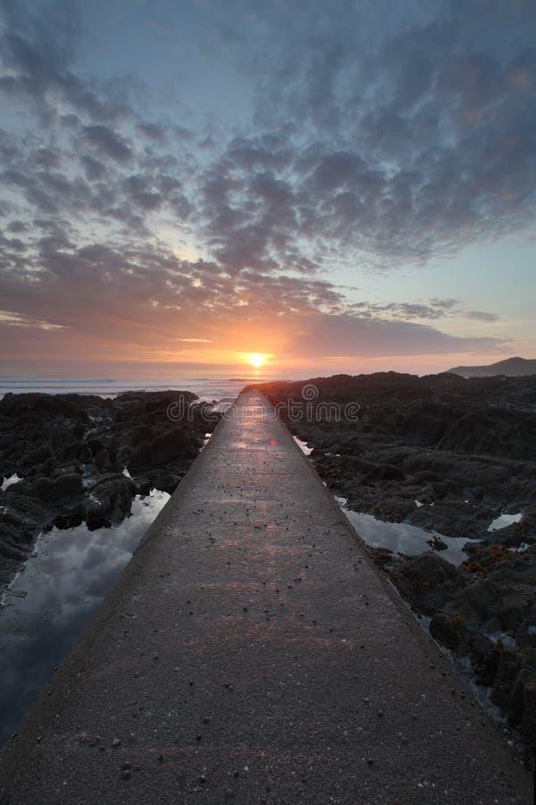 日落Woolacombe北部德文郡海岸 库存图片