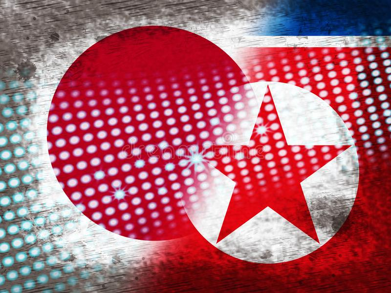 日语和北朝鲜的冲突3d例证 库存例证