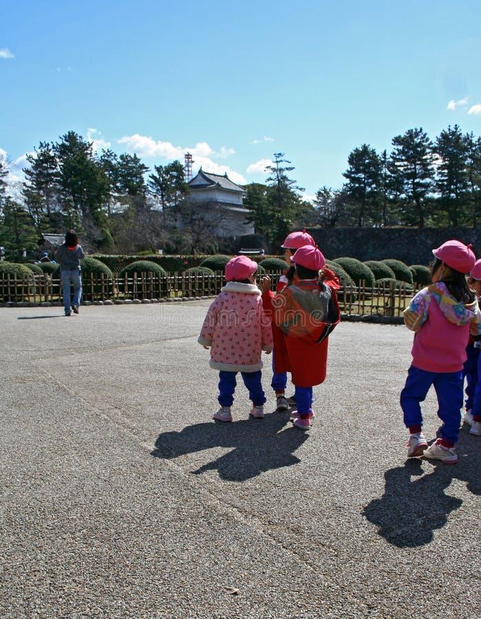 日语开玩笑kindergartenschool 库存照片