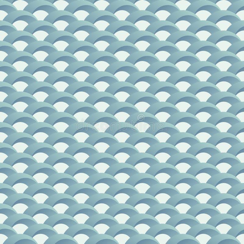 日语挥动无缝的样式 重复从容量半圆形状的几何瓦片 库存例证