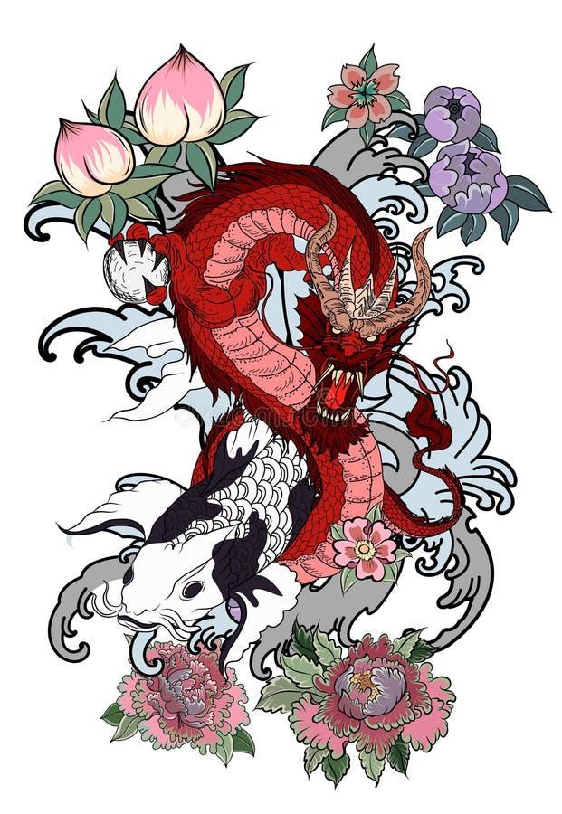 日语Koi和龙 手拉的艺妓女孩和小猫在波浪背景 老龙用李子 向量例证