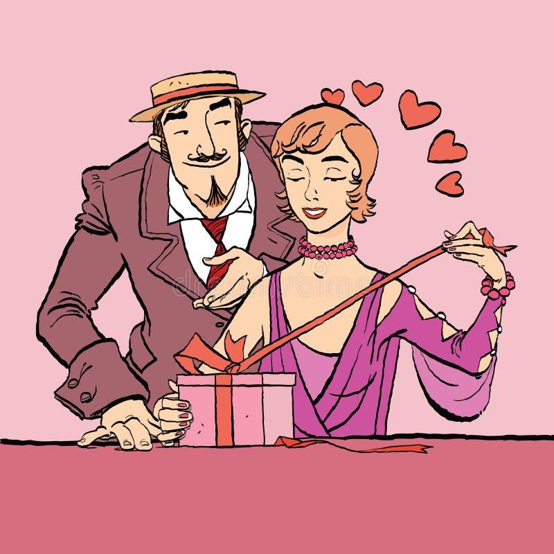 日重点例证查出爱言情s华伦泰白色 减速火箭的妇女打开礼物 向量例证