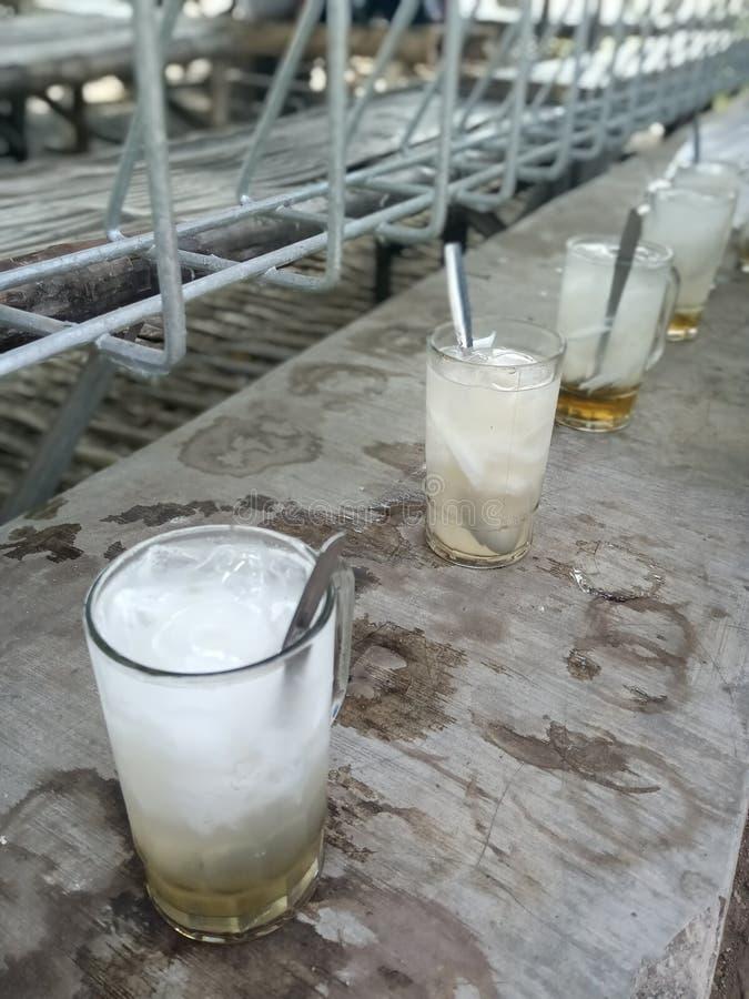 日间享用年轻椰子饯 免版税图库摄影