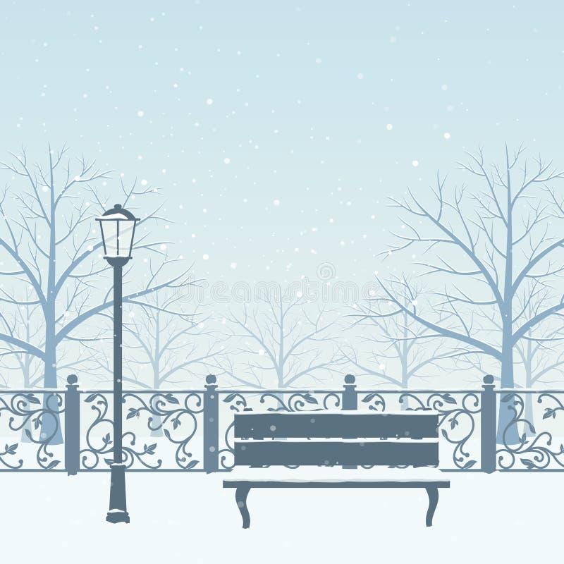 日霜1月天然公园多雪的结构树冬天 向量例证