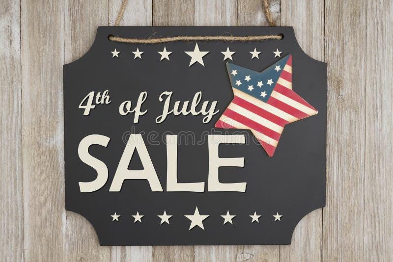 4日7月销售美国独立日消息 库存照片