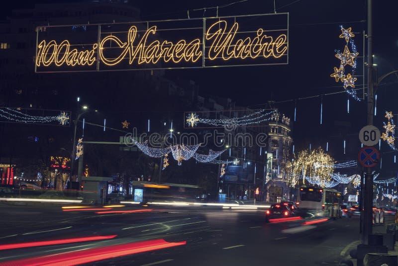 13日DEC 2018年,罗马尼亚,布加勒斯特的Bulevardul尼古拉伯尔切斯库中心100年周年从伟大的统一圣诞节 库存照片