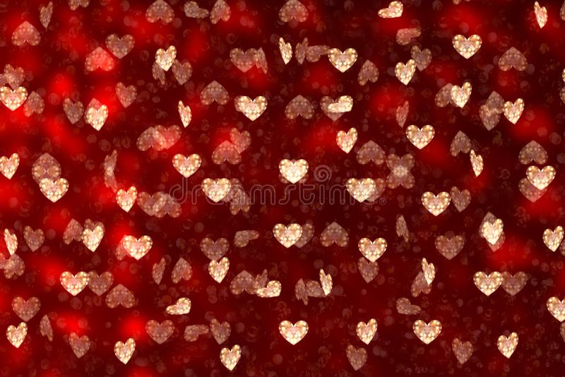 日s华伦泰 在红色背景的许多心脏 免版税图库摄影