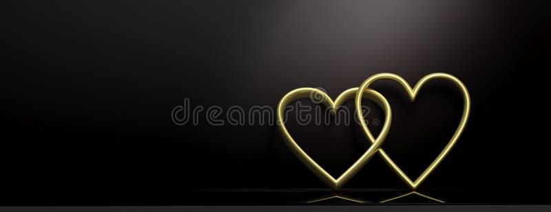 日s华伦泰 在黑背景,横幅,拷贝空间的金黄连结的心脏 3d例证 皇族释放例证