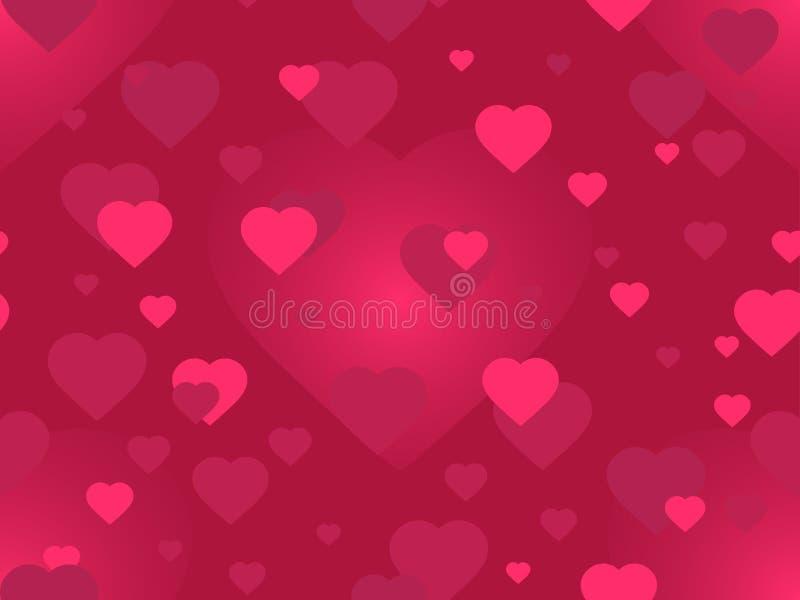 日s华伦泰 2月14日 与被弄脏的心脏的无缝的样式 贺卡、横幅和海报的欢乐背景 库存例证