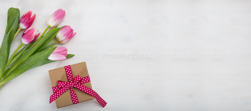日s妇女 桃红色郁金香和一件礼物在白色背景,横幅,顶视图, copyspace 库存照片