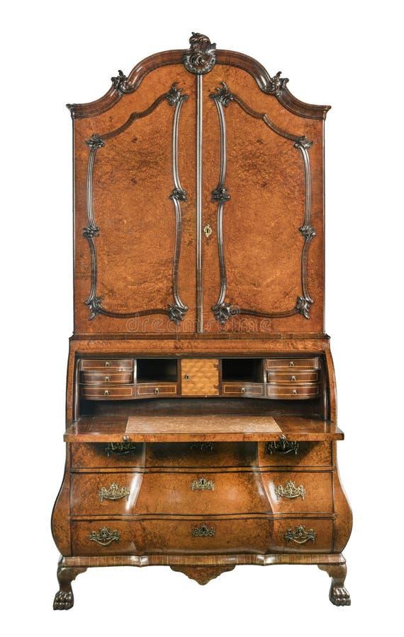 旧书柜。古老的木制局,以法式路易风格开放,与白人隔绝 库存图片