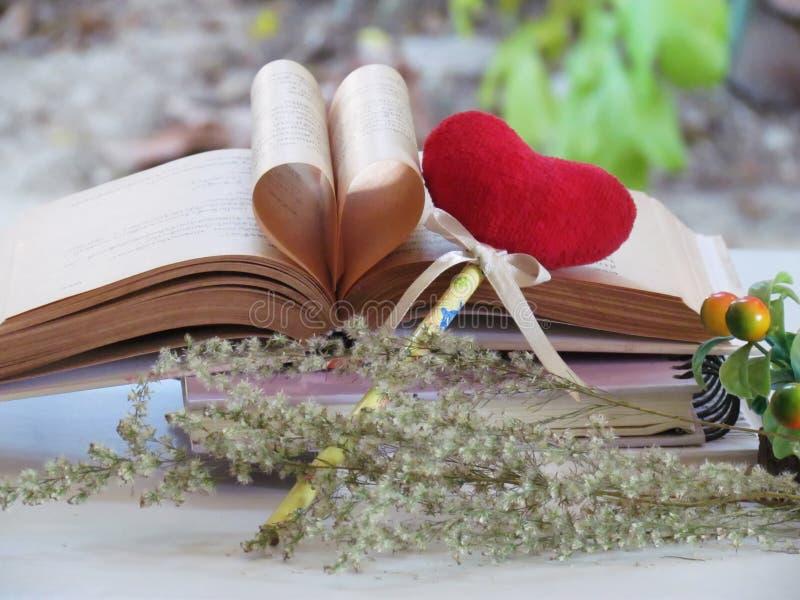 旧书的心脏,按书签红色心脏、干花、概念爱和夫妇 免版税库存图片