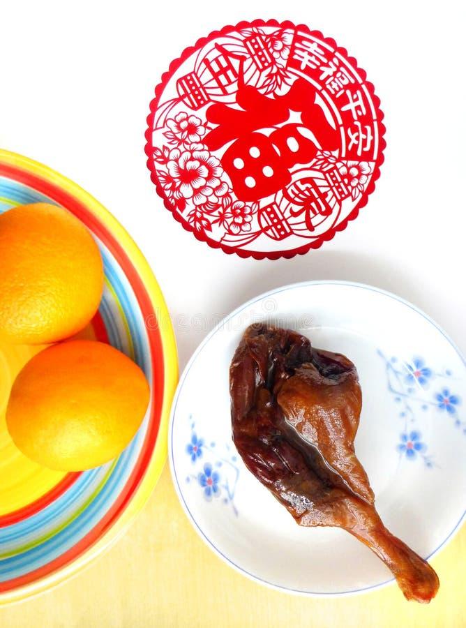 旧历新年食物静物画 免版税库存照片