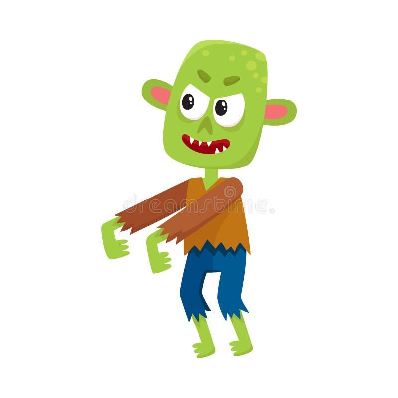 旧布的可怕矮小的绿色蛇神妖怪,万圣夜服装 库存例证