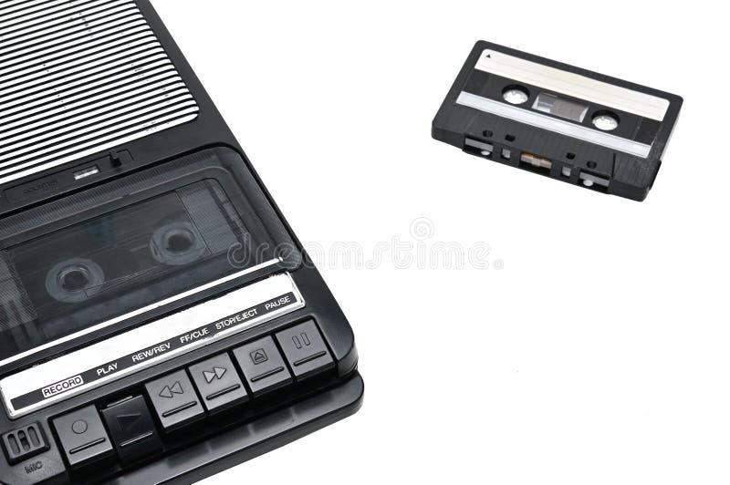 旧时桌面类型在白色被隔绝的背景的盒式带录音机 免版税库存照片