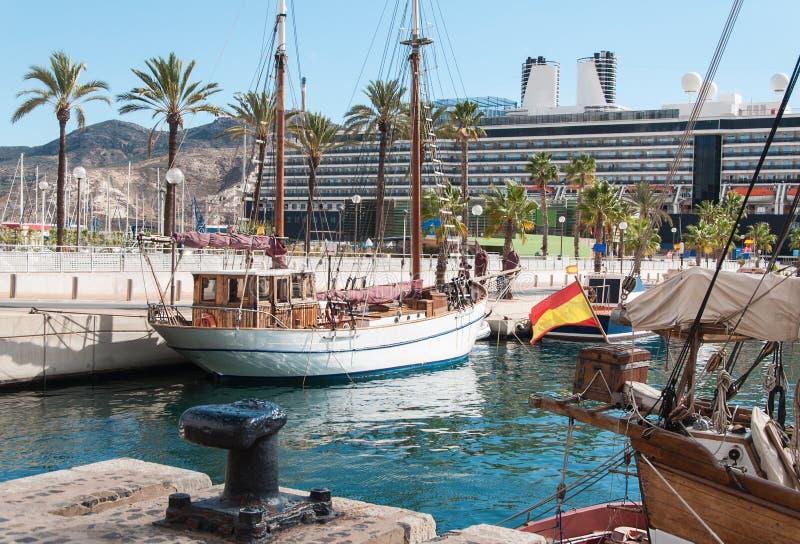 旧港口在卡塔赫钠,西班牙 库存照片