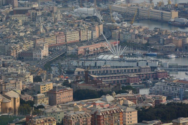 旧港口的鸟瞰图 赫诺瓦 利古里亚 意大利 库存照片