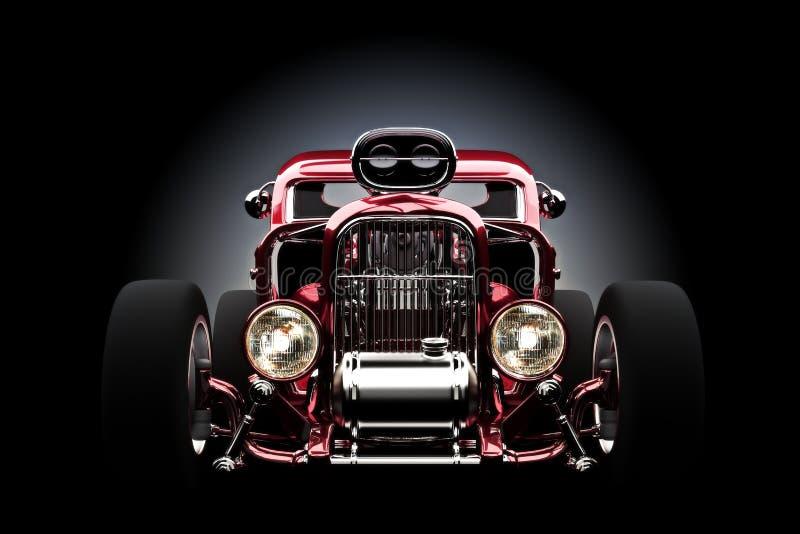 旧车改装的高速马力汽车有梯度背景 向量例证