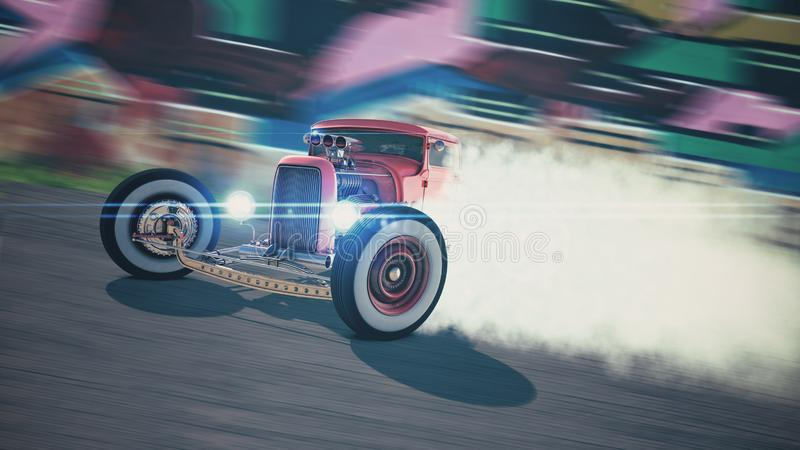 旧车改装的高速马力汽车漂移3D回报 库存照片