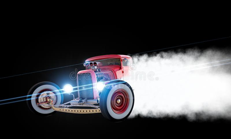 旧车改装的高速马力汽车漂移3D回报 免版税库存图片