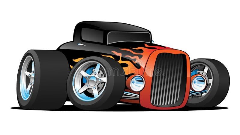 旧车改装的高速马力汽车经典小轿车习惯汽车动画片传染媒介例证 库存例证