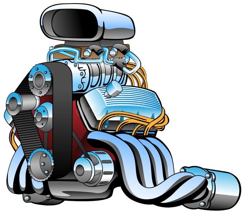 旧车改装的高速马力汽车赛车引擎动画片,许多镀铬物,巨大的入口,肥胖排气管,传染媒介例证 向量例证
