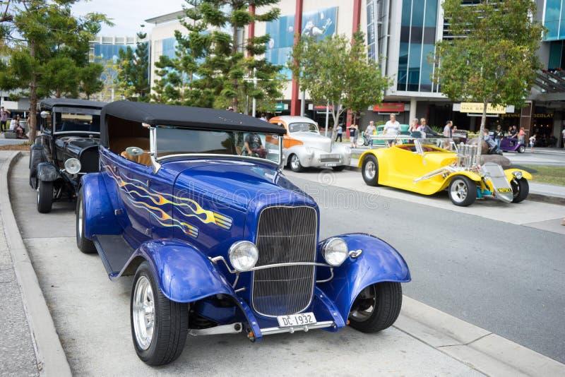 旧车改装的高速马力汽车车展 免版税库存照片