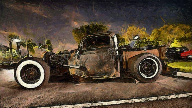 旧车改装的高速马力汽车经典之作 向量例证