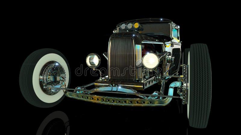 旧车改装的高速马力汽车3D回报 免版税库存图片