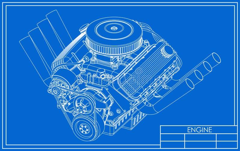 旧车改装的高速马力汽车V-8引擎图画 向量例证