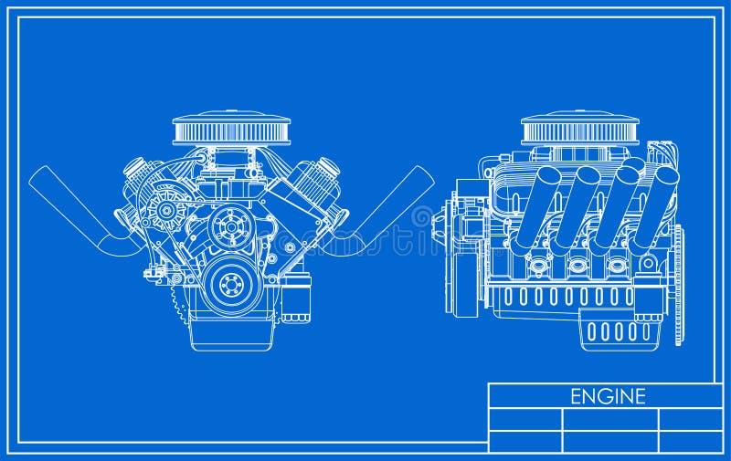 旧车改装的高速马力汽车V-8引擎图画 皇族释放例证