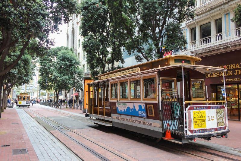旧金山到达终端的缆车 库存图片