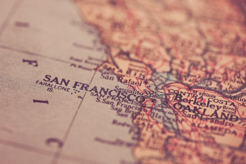 旧金山加利福尼亚地图 图库摄影