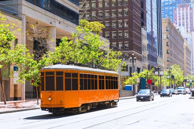 旧金山在农贸市场加利福尼亚的缆车电车 免版税库存图片