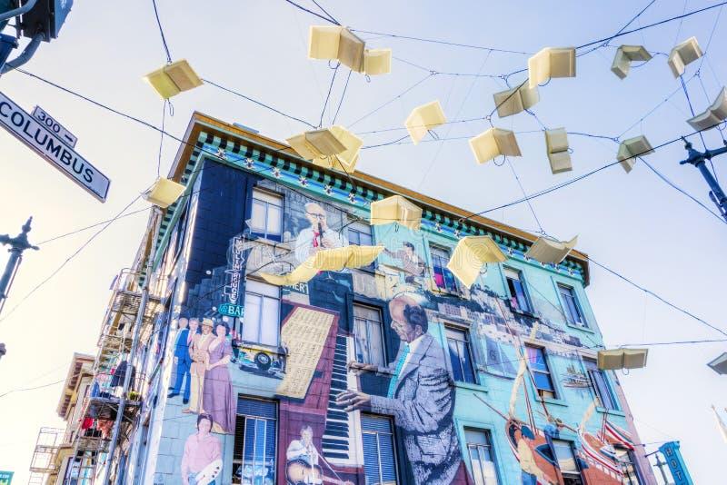 旧金山在北部海滩公共的墙壁壁画 库存图片