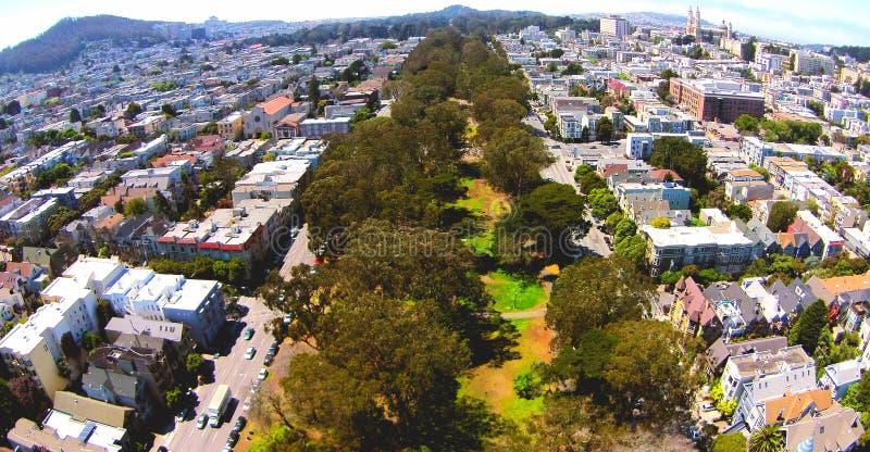 旧金山平底锅把柄从上面 免版税图库摄影