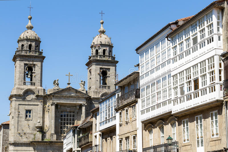 旧金山教会和女修道院  compostela de圣地亚哥 gal 库存照片