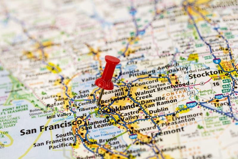 旧金山湾加利福尼亚地图 免版税库存图片